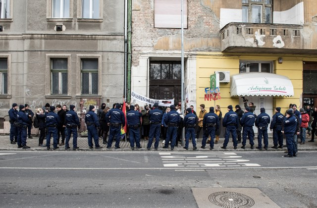 map.19.02.09. Antifa antifsiszta tüntetés a Becsület napja kitörés napja megemlékezés ellen
