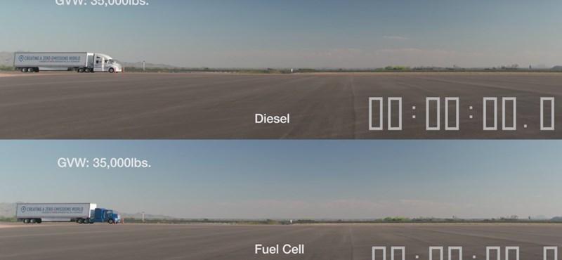 Videó: látványos a különbség, amikor egy dízel és egy elektromos meghajtású kamion indul útnak