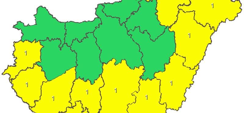 Térkép: Figyelmeztetést adtak ki az ország nagyobbik felére