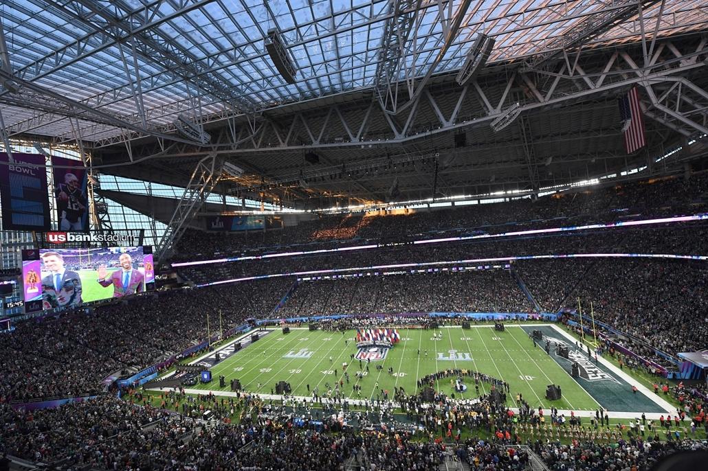 afp.18.02.04. - Minneapolis, USA: Az 52. alkalommal megrendezett Super Bowl döntőjén a minneapolisi U.S. Bank Stadionban 2018. február 4-jén. - amerikaifutball, amerikai foci, nfl