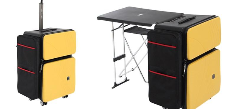 Mutatunk egy bőröndöt, ami kinyitva egy kész iroda, székkel együtt