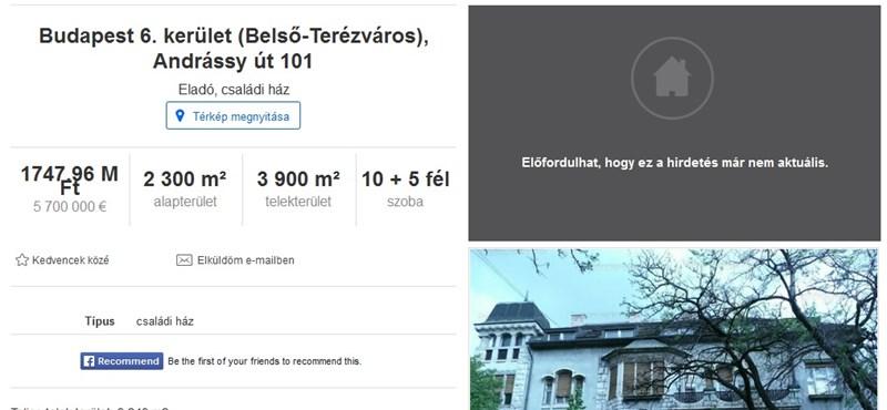 Orbánék palotát vettek az Andrássyn a Fekete-féle MMA-nak
