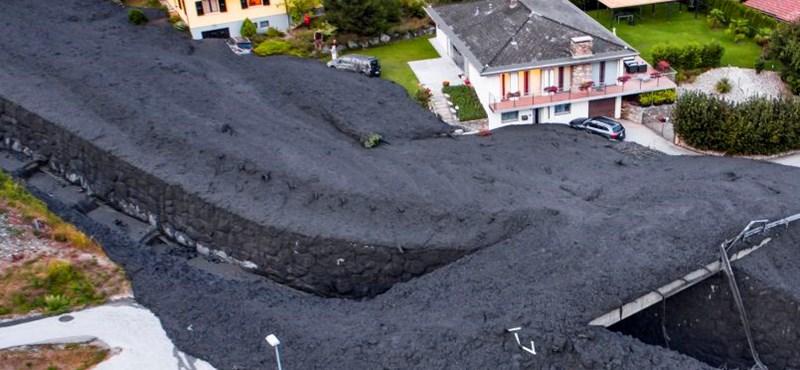 Döbbenetes fotók: lavinaként zúdult rá a sár egy városra Svájcban