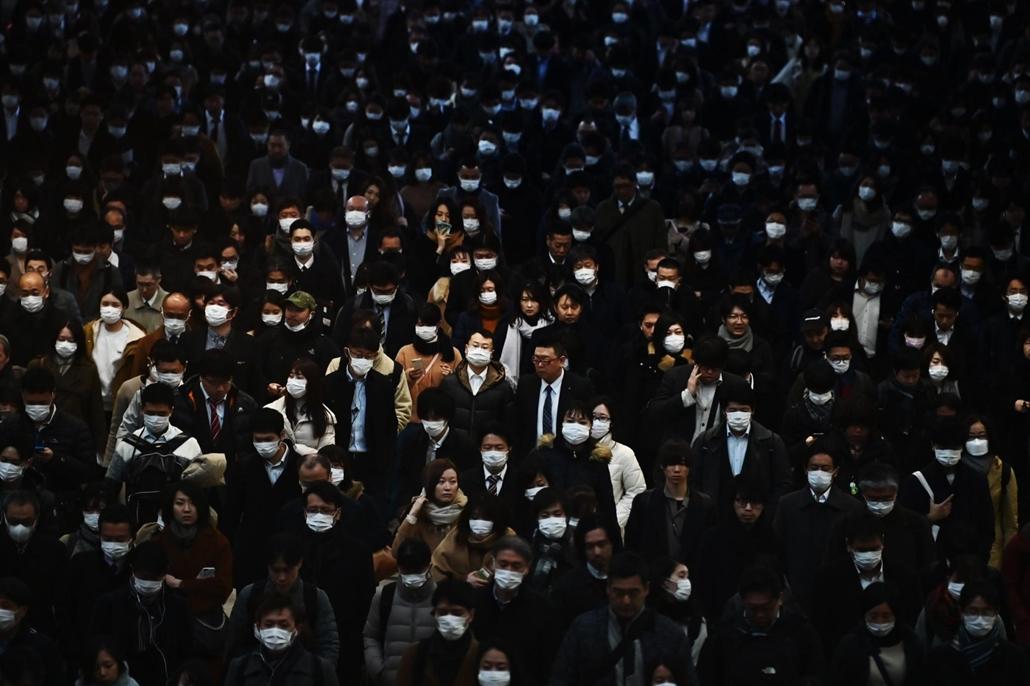 nagyítás - koronavírus, japán, vonatállomás