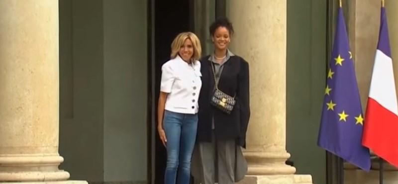 Rihanna találkozott Macronékkal