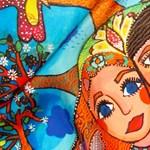 Igazgyöngyös rajzok osztrák selyemkendőkön
