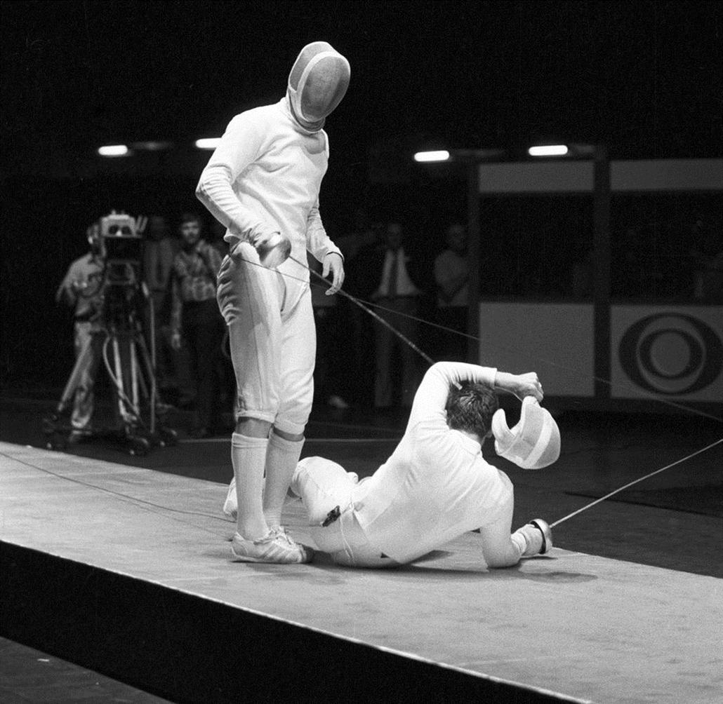 Schmitt Pál győzött Paramonov ellen a bécsi Vívó Világbajnokságon.1971.