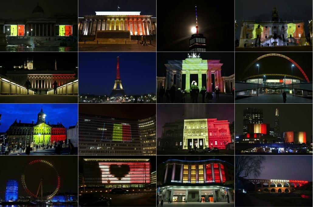 hét képei - afp.16.03.24. - kivilágított épületekkel emlékeztek a brüsszeli robbantásos merényletek áldozataira