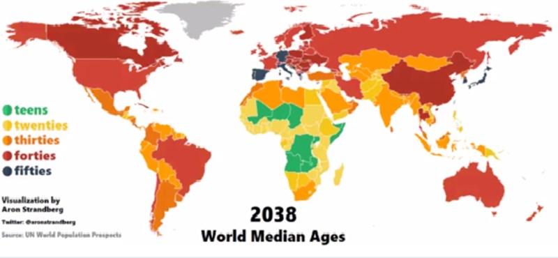 térkép világ Világ: Térkép: Nézze, ahogy megöregszik a világ   HVG.hu térkép világ