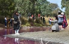 Fotók: Rózsaszínű lett egy tó Ausztráliában