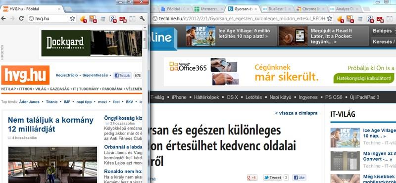 Nézzen két weboldalt egyszerre, tetszőleges méretben, egyetlen monitoron
