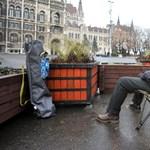 Képek: így ülősztrájkol a HÖOK elnöke a parlamentnél