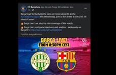 A Barcelona megrázta a pofonfát: kiírta a Facebookra, hogy indulnak Bukarestbe