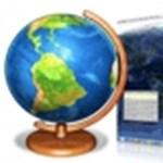 Aktív földgömb és időjárástérkép az Asztalon
