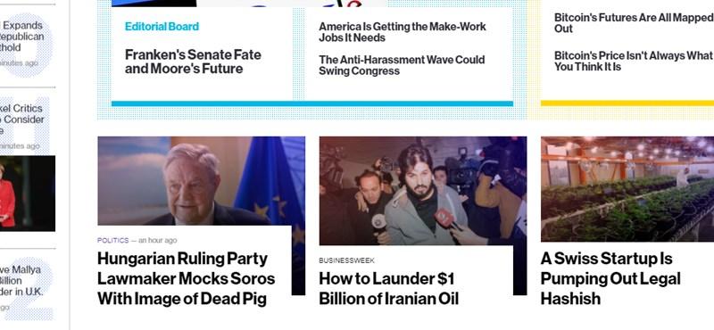 """Címlapon hozza a Bloomberg a fideszes Pócs János """"soros disznóját"""""""