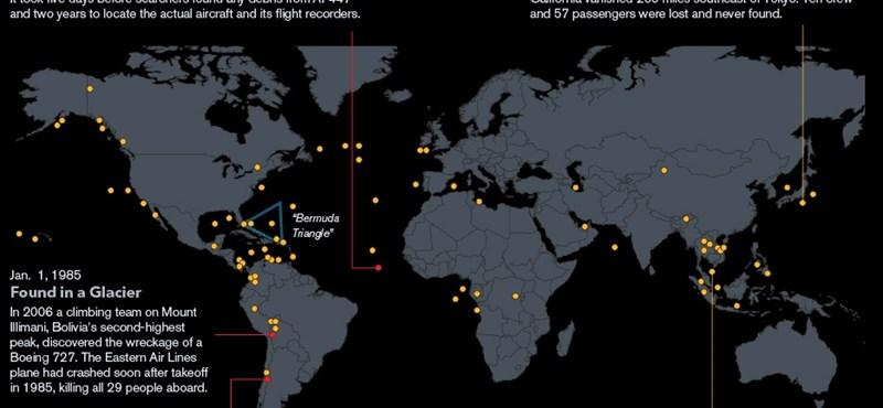 Rengeteg repülő tűnt el a Földön – térkép