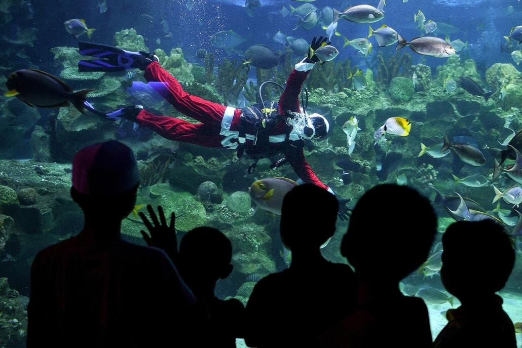 afp.16.12.08. Gyerekek csodálják a búvárkodó mikulást Malajzia fővárosában, Kuala Lumpurban. karácsony, mikulás, akvárium, búvár, búvárkodás, malajzia, Kuala Lumpur