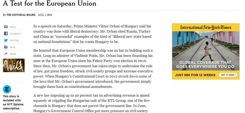 Nekiment Orbánnak a New York Times, szankciókat követel