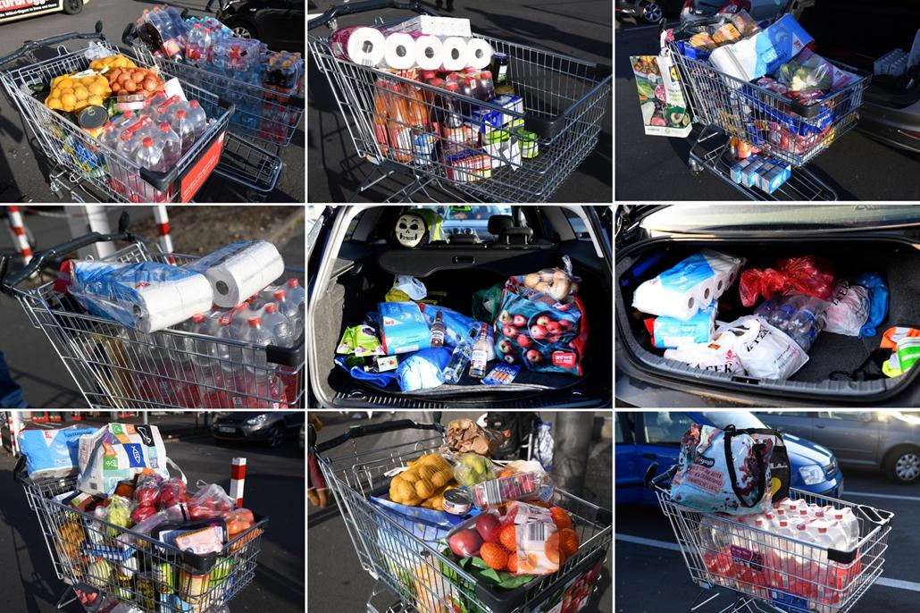 MAGYÍTÁS NE HASZNÁLD Telepakolt bevásárlókocsik Dortmundban március 16