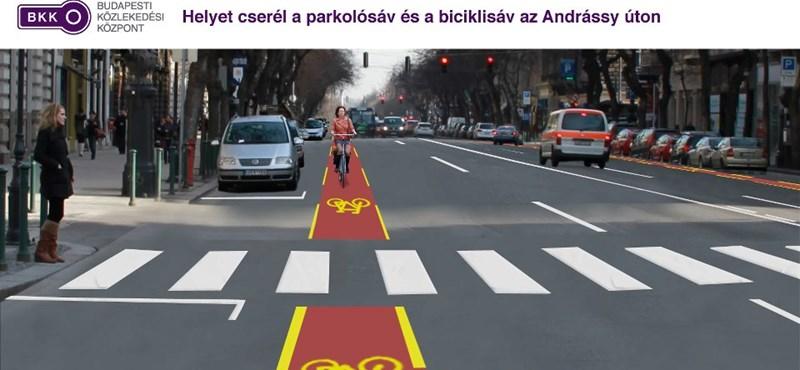 Fotó: helyet cserél az Andrássyn a parkolósáv és a biciklisáv