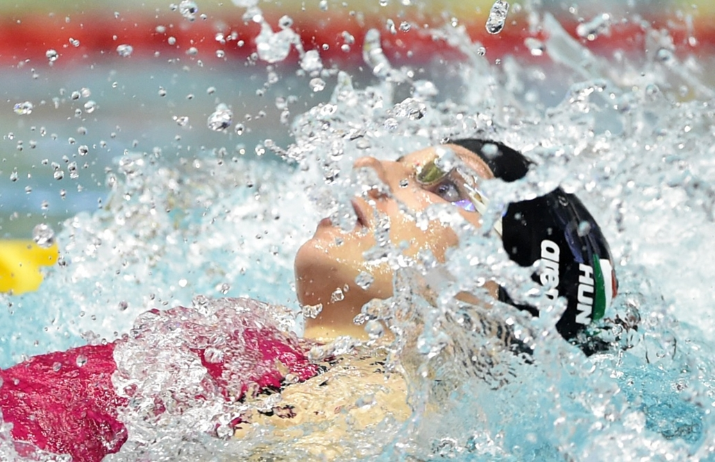 afp. Hosszú Katinka, 2014.10.29. JAPAN, Tokyo : Hungary's Katinka Hosszu competes in the women's 100m individual medley final at the Swimming World Cup short-course series in Tokyo on October 29, 2014.