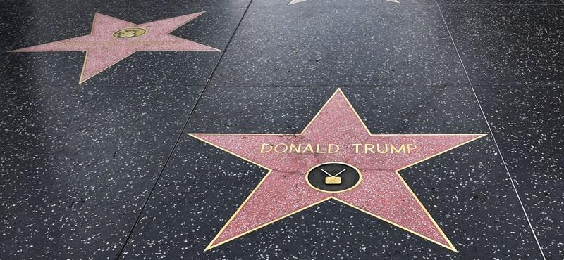Videóra vették, ahogy valaki csákánnyal veri szét Trump csillagát