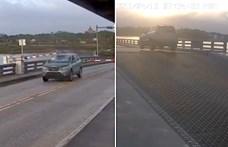 Felnyíló hídon ugratott át egy sietős autós Floridában – videó