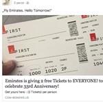 Minden kattintónak 2 ingyen repülőjegyet ad a 33 éves Emirates? És ennek mégis hanyadjára dől be?