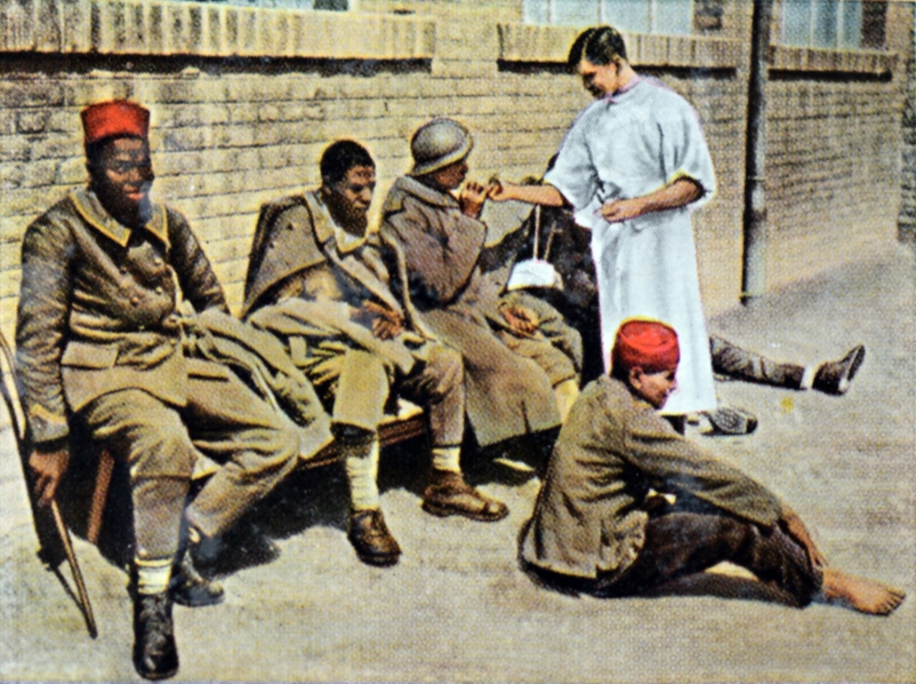 afp. Somme-i csata - The contemporary colorized German propaganda photo shows wounded African soldiers in the French Army after being captured prisoner by German troops in a German hospital during the Battle of the Somme in 1916.