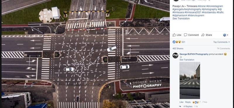Temesváron felfestették a világ legbonyolultabb kereszteződését – fotó