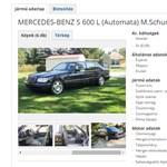 Magyar oldalon hirdetik Schumacher egyik Mercedesét