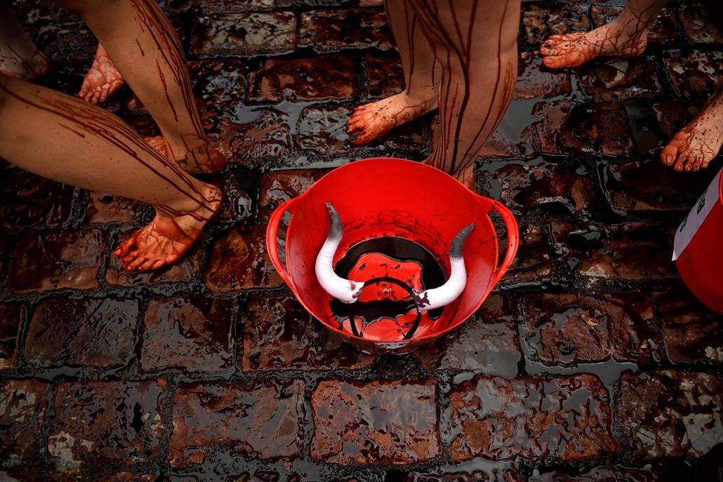 !!! AP júl.18-ig !!! - állatvédõ aktivisták mellett egy állatjogi tüntetésen az észak-spanyolországi Pamplonában 2016. július 5-én, a San Fermín fesztivál kezdete elõtti napon. A város védõszentjének tiszteletére 1591 óta évente megrendezett kilencnapos f