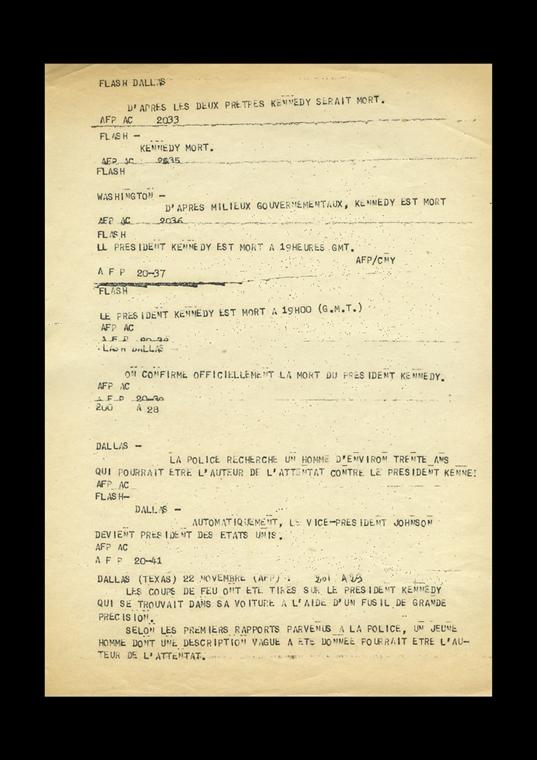 1963.11.22. - Párizs, Franciaország: az AFP közleménye Kennedy haláláról - John F. Kennedy, John Fitzgerald Kennedy