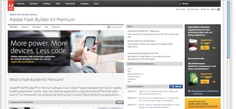 Már iPhone-ra, iPadre és BlackBerry PlayBookra is fejleszthetünk a Flash Builderrel