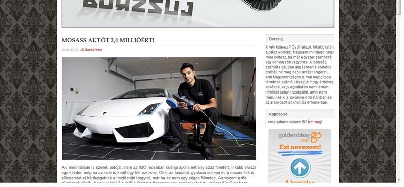 Autómosás 2,4 millió forintért