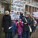 Képek: szülők és diákok tüntettek az iskolabezárások ellen Békéscsabán