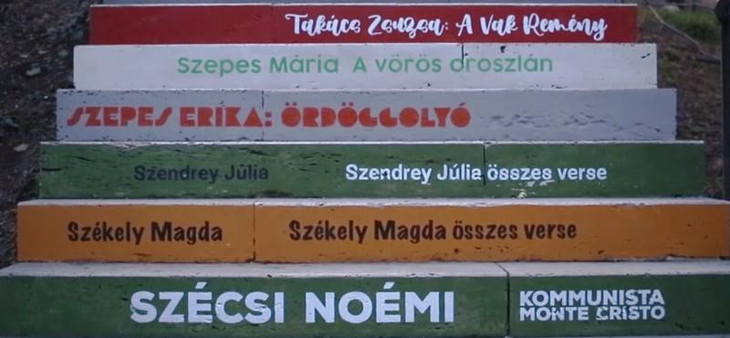 47 magyar író- és költőnő művének címét festették fel egy vízivárosi lépcsősorra