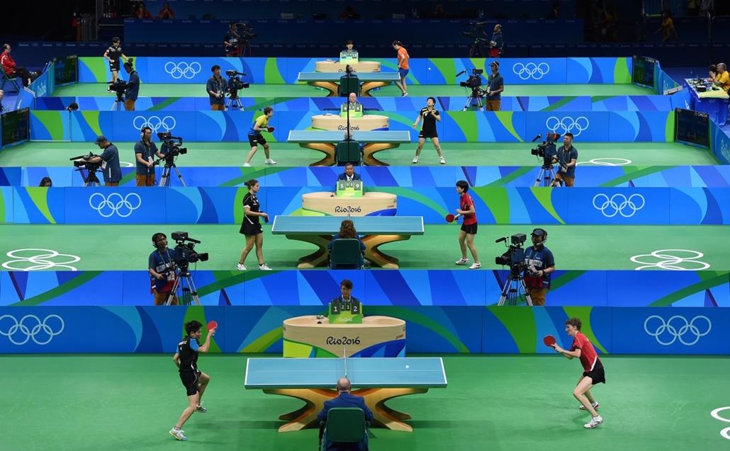 afp.16.08.08. - Versenyzők a női egyes asztalitenisz selejtezőjében augusztus 8-án. - olimpia, riói olimpia 2016, olimpia 2016