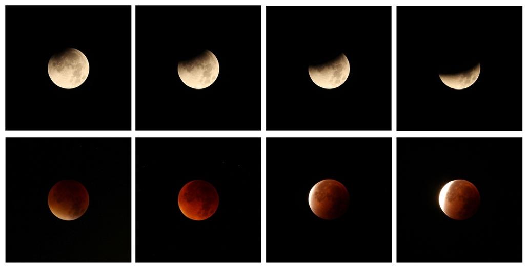 afp.15.09.28. - Heidelberg, Németország: kombókép a holdfogyatkozás fázisairól - holdfogyatkozás, szuperhold