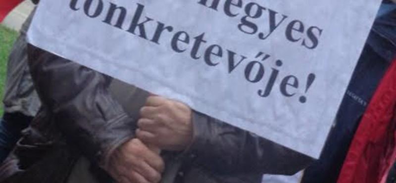 """Tüntetés Mezőhegyesen: """" A Fidesz csak az erőből ért"""""""