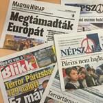 Fotó: A párizsi vérengzés írta át a magyar címlapokat