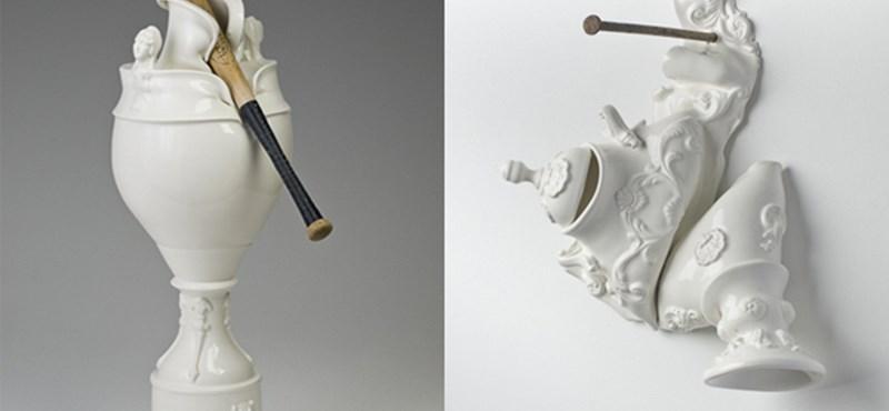 Baseballütő és porcelán találkozása Laurent Craste extrém művein