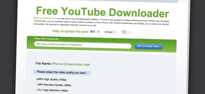 Valóban kényelmes letöltés a Youtube-ról, telepítés nélkül
