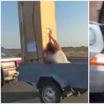 Egészen eredeti módon viszik ezek az autósok a bútorokat – videó