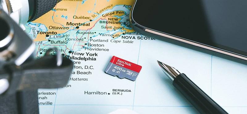 Itt a microSD kártya, melyre 400 GB adat fér el –ráadásul nagyon gyors is