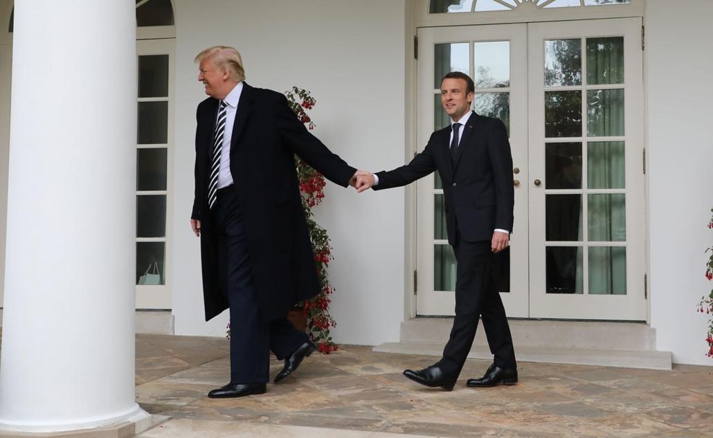 afp.18.04.24. Emmanuel Macron és Donald Trump washingtoni talűlkozójukon április 14-én