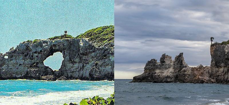 Leomlott Puerto Rico híres tengeri sziklaablaka