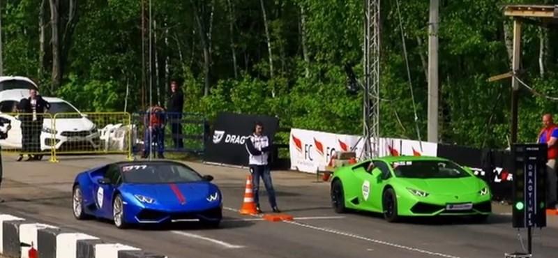 Így gyorsul egy turbósított Lamborghini Huracan a gyári változat ellen – videó