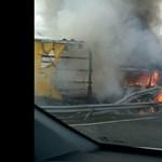 Kigyulladt egy kamion az M30-as autópályán – videó