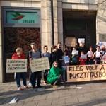 Fotó: A berlini követség előtt is tüntettek a CEU mellett